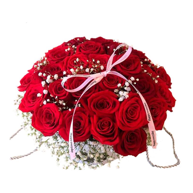 Rosas en Caja Redonda - 36 Rosas
