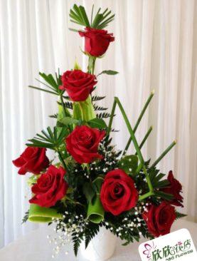 Arreglo 8 rosa roja