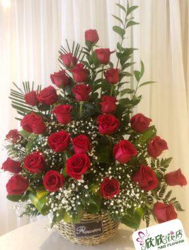 29 rosas roja en canasta