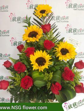 rosas roja con Girasol