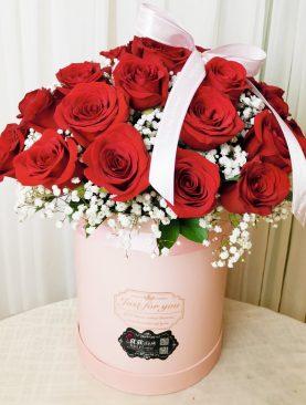 Cubo Deluxe 36 rosas roja