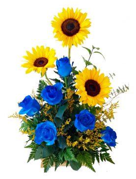Girasol con rosas azules