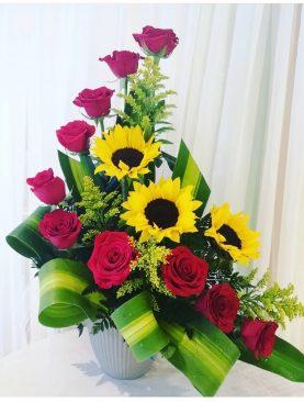 Girasol con Rosas roja forma medialuna