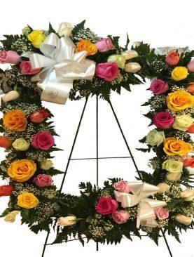Corona con rosas surtidas