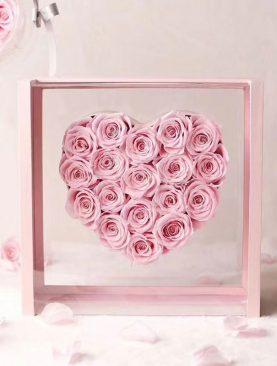 Rosas preservadas rosadas en caja Deluxe