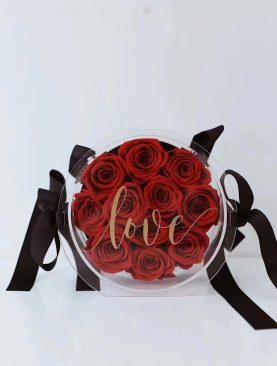 Rosas preservada en caja clilico redonda