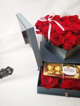 20 rosas en Caja con Gaveta