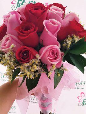 Ramo de novia Rosa roja con rosada