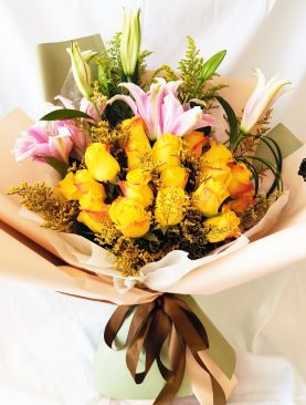 Ramo rosas amarillo con lirio