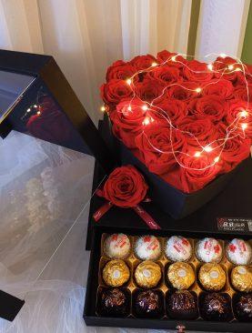 Rosa Preservada Corazon Caja Magica roja