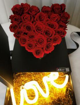 Rosas Preservada Corazon Caja Paroramica rojo