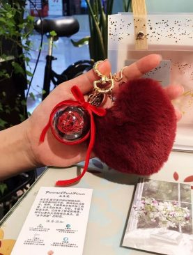 Rosa preservada llavero corazon roja