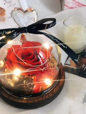 Eterno rosa preservada roja con luz