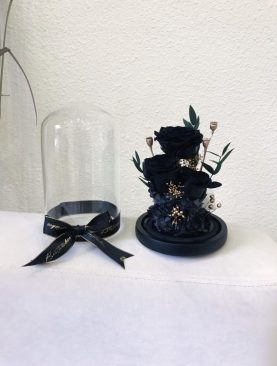 Rosa preservada  negra 3 rosas
