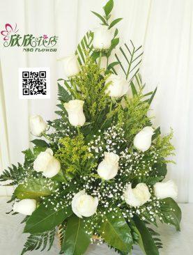 Arreglo 12 rosas blanca