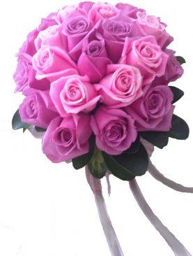 Ramo de novia rosas lila con rosado